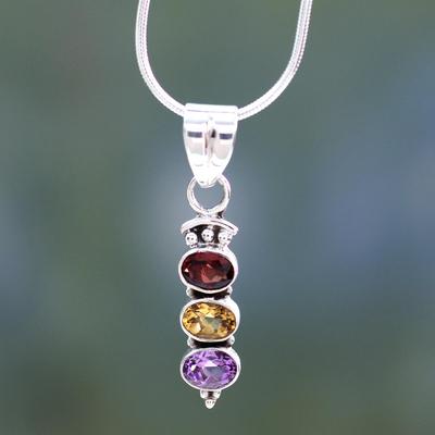 Amethyst and citrine pendant necklace, 'Trio' - Amethyst and citrine pendant necklace