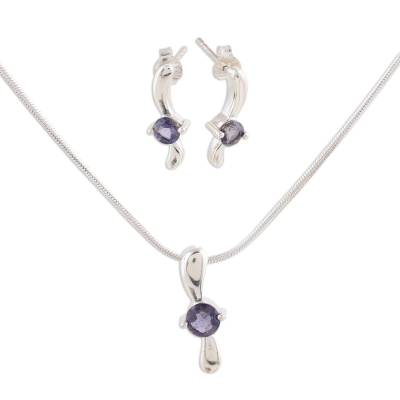 Iolite Necklace Earrings in Sterling Silver Jewelry Set