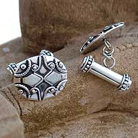 Sterling silver cufflinks, 'Mughal Puzzle' - Sterling silver cufflinks