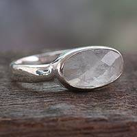 Rainbow moonstone cocktail ring, 'Rainbow Mist' - Handcrafted Moonstone and Sterling Silver Ring