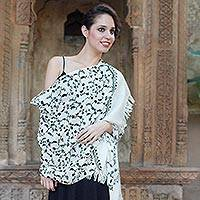 Wool shawl, 'Black Lilies' - Handcrafted Embroidered Wool Wrap from India