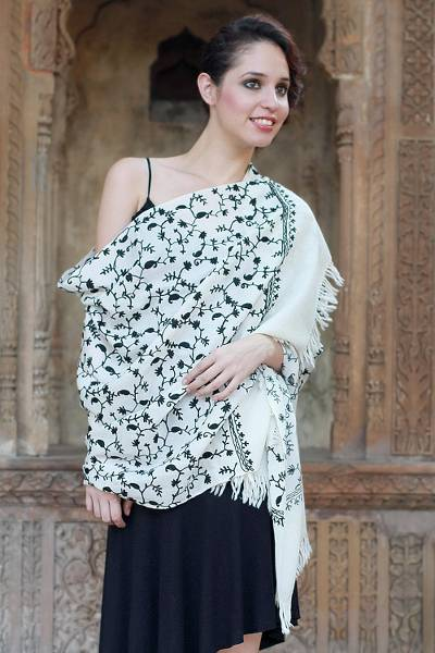 Wool shawl, 'Black Lilies' - Hand Made Women's Wrap Wool Embroidered Shawl
