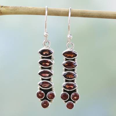 Garnet earrings, 'Incandescent Passion' - Handcrafted Sterling Silver and Garnet Earrings