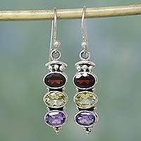 Garnet and citrine earrings, 'Indian Glow' - Garnet Citrine and Amethyst Earrings in Sterling Silver