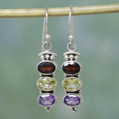 Garnet and citrine earrings, 'Indian Glow' - Garnet Citrine and Amethyst Earrings in Sterling Silver