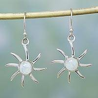 Moonstone earrings, 'Rainbow Sun' - Hand Crafted Moonstone and Sterling Silver Dangle Earrings