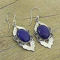 Lapis lazuli earrings, 'Blue Lotus'