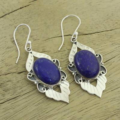Lapis lazuli earrings, 'Blue Lotus' - Fair Trade Sterling Silver and Lapis Lazuli Earrings
