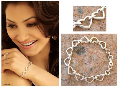 Sterling silver heart bracelet, 'India Hearts' - Romantic Sterling Silver Heart Bracelet