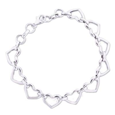 Romantic Sterling Silver Heart Bracelet