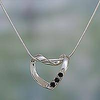 Onyx heart necklace, 'Peaceful Heart' - Sterling Silver Heart Shaped Necklace with Onyx Points