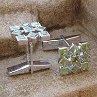Peridot cufflinks, 'Jigsaw Riddle' - Cufflinks Artisan Crafted Sterling Silver Peridot