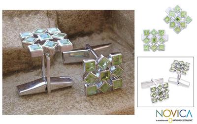 Peridot cufflinks, 'Jigsaw Riddle' - Cufflinks Artisan Crafted Sterling Silver Peridot