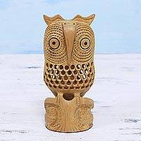 Wood statuette, 'Night Owl Mom' - Jali Art Sculpture Hand Carved in India
