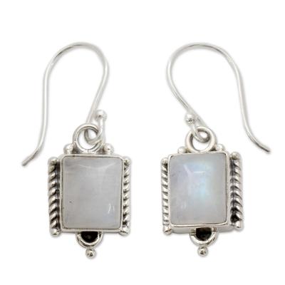 Moonstone dangle earrings, 'Mystic Sky' - Handmade Sterling Silver and Moonstone Earrings