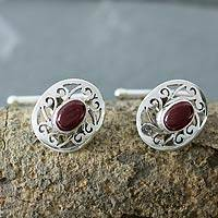 Garnet cufflinks, 'Royal Red Rose' - Collectible Sterling Silver Garnet Cufflinks Artisan Jewelry