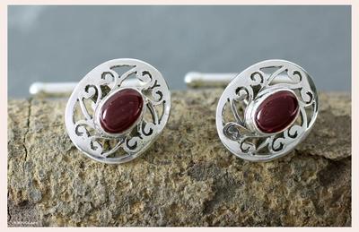 Garnet cufflinks, 'Royal Red Rose' - Collectible Sterling Silver Garnet Cufflinks Artisan Jewelry