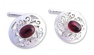 Collectible Sterling Silver Garnet Cufflinks Artisan Jewelry