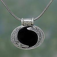 Onyx pendant necklace, 'Royal Amulet' - Onyx and Silver Necklace Modern India Jewerly