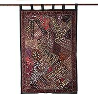 Cotton wall hanging, 'Mughal Luxury' - Cotton Sequins and Beads Wall Hanging from India