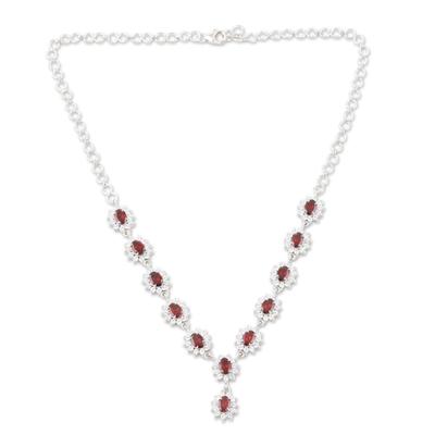 Garnet Y-necklace, 'Scarlet Splendor' - Garnet Y-necklace