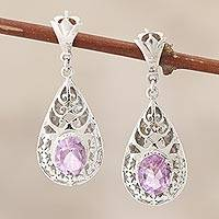 Amethyst dangle earrings, 'Blessed Garden'