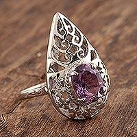 Amethyst solitaire ring, 'Teardrop' - Amethyst solitaire ring