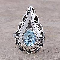 Blue topaz cocktail ring, 'Teardrop' - Blue topaz cocktail ring