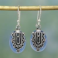 Sterling silver dangle earrings, 'Morning Dew' - Chalcedony and Sterling Silver Earrings Indian Jewelry