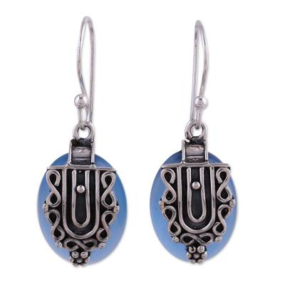 Chalcedony and Sterling Silver Earrings Indian Jewelry