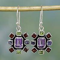 Amethyst and garnet dangle earrings, 'Color Wheel' - Silver Multigem Earrings from India