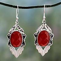 Carnelian dangle earrings, 'Sunny Sky' - Artisan Crafted Sterling Silver Carnelian Earrings