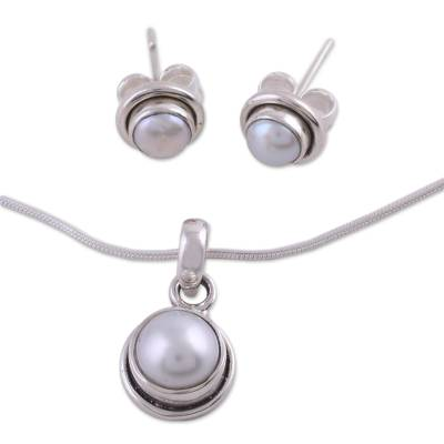 Pearl jewelry set, 'White Cloud' - Bridal Pearl jewellery Set in Sterling Silver