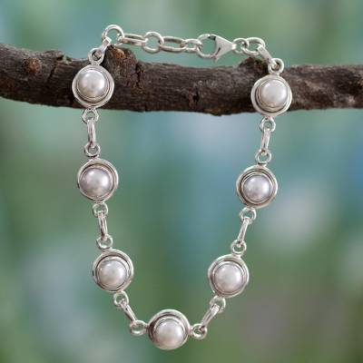 Pearl link bracelet, White Cloud