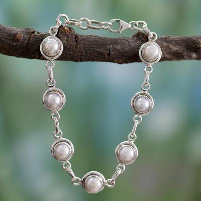 Pearl link bracelet, 'White Cloud' - Hand Made Bridal Sterling Silver Link Pearl Bracelet
