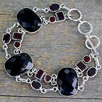 Onyx and garnet link bracelet, 'Exotic Drama' - Unique Sterling Sliver Bracelet with Onyx Stones.
