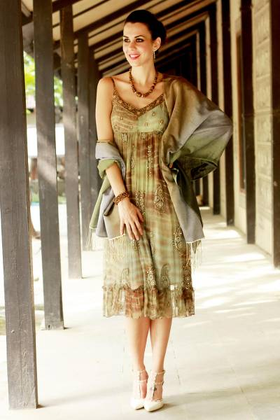 Silk and wool shawl, 'Shimmering Earth' - Silk Wool Blend Handcrafted Wrap Shawl