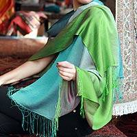 Silk and wool shawl, 'Green Allure' - Silk and wool shawl