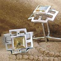 Citrine cufflinks, 'Sun Tower' - Collectible Men's Sterling Silver Citrine Cufflinks