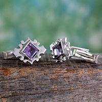 Amethyst cufflinks, 'Orchid' - Square Cut Amethyst and Sterling Silver Cufflinks from India