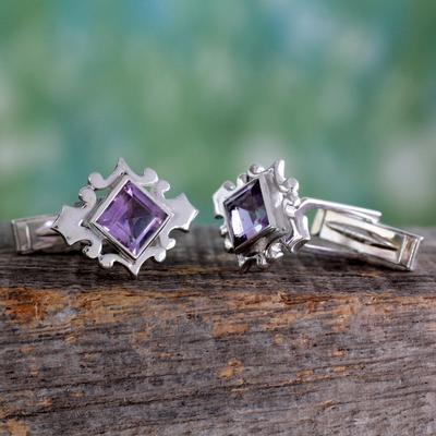 Amethyst cufflinks, 'Orchid' - Amethyst Cufflinks Sterling Silver 925 Handmade Men Jewelry