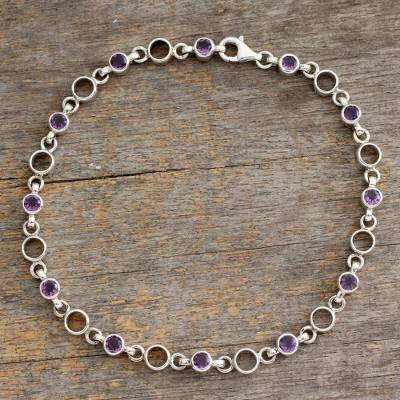 Amethyst anklet, 'Elegant Simplicity' - Fair Trade jewellery Amethyst Sterling Silver Anklet
