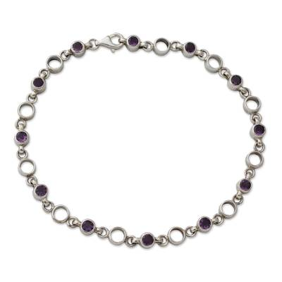 Fair Trade Jewelry Amethyst Sterling Silver Anklet