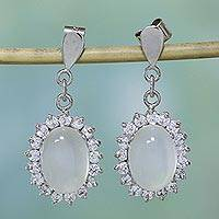 Moonstone dangle earrings, 'Romance'