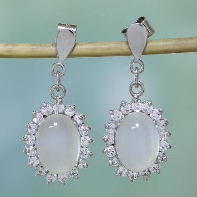 Moonstone dangle earrings, 'Romance' - Moonstone dangle earrings