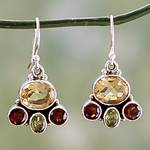 Natural Gemstones in Sterling Silver Earrings, 'Harmony'