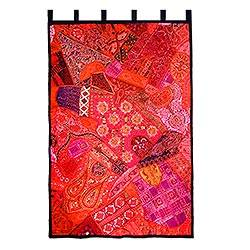 Cotton wall hanging, 'Red Radiance' - Cotton wall hanging