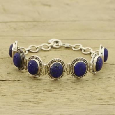 Lapis lazuli link bracelet, 'Majestic Blue' - Fair Trade Lapis Lazuli Bracelet Sterling Silver Links