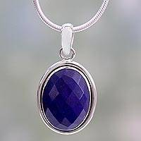 Lapis lazuli pendant necklace, 'Blue Destiny' - Fair Trade Jewelry Lapis Lazuli and Sterling Silver Necklace
