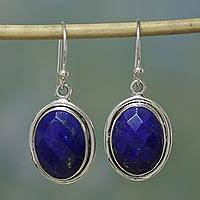 Lapis lazuli dangle earrings, 'Blue Destiny' - Lapis Lazuli Earrings Sterling Silver Jewelry from India
